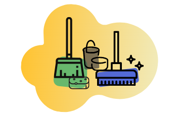 brush and mop with bucket graphic