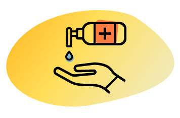 hand with hand sanitiser graphic